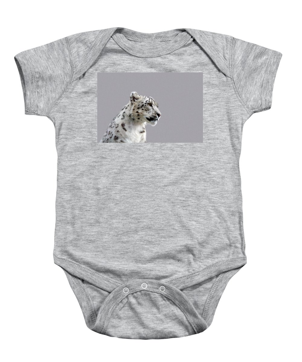Animal Baby Onesie featuring the photograph Snow Leopard by Paul Fell