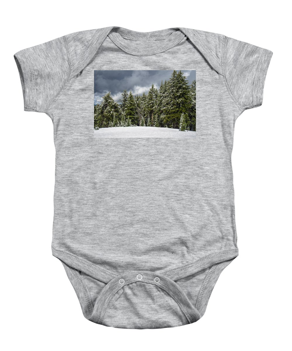 Cascades Baby Onesie featuring the photograph Snowstorm In The Cascades by Greg Nyquist