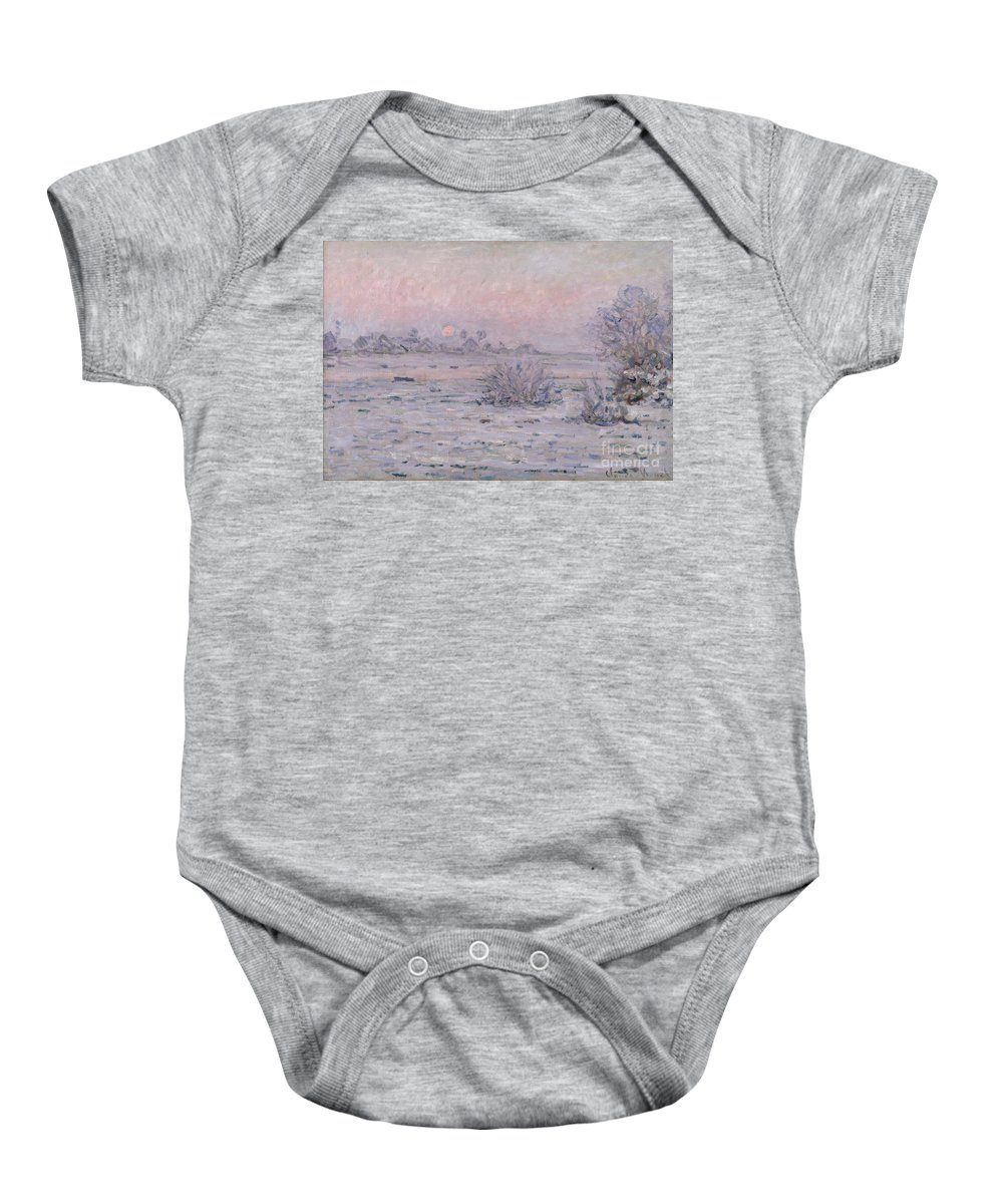 Claude Monet Baby Onesie featuring the painting Snowy Landscape At Twilight by Claude Monet
