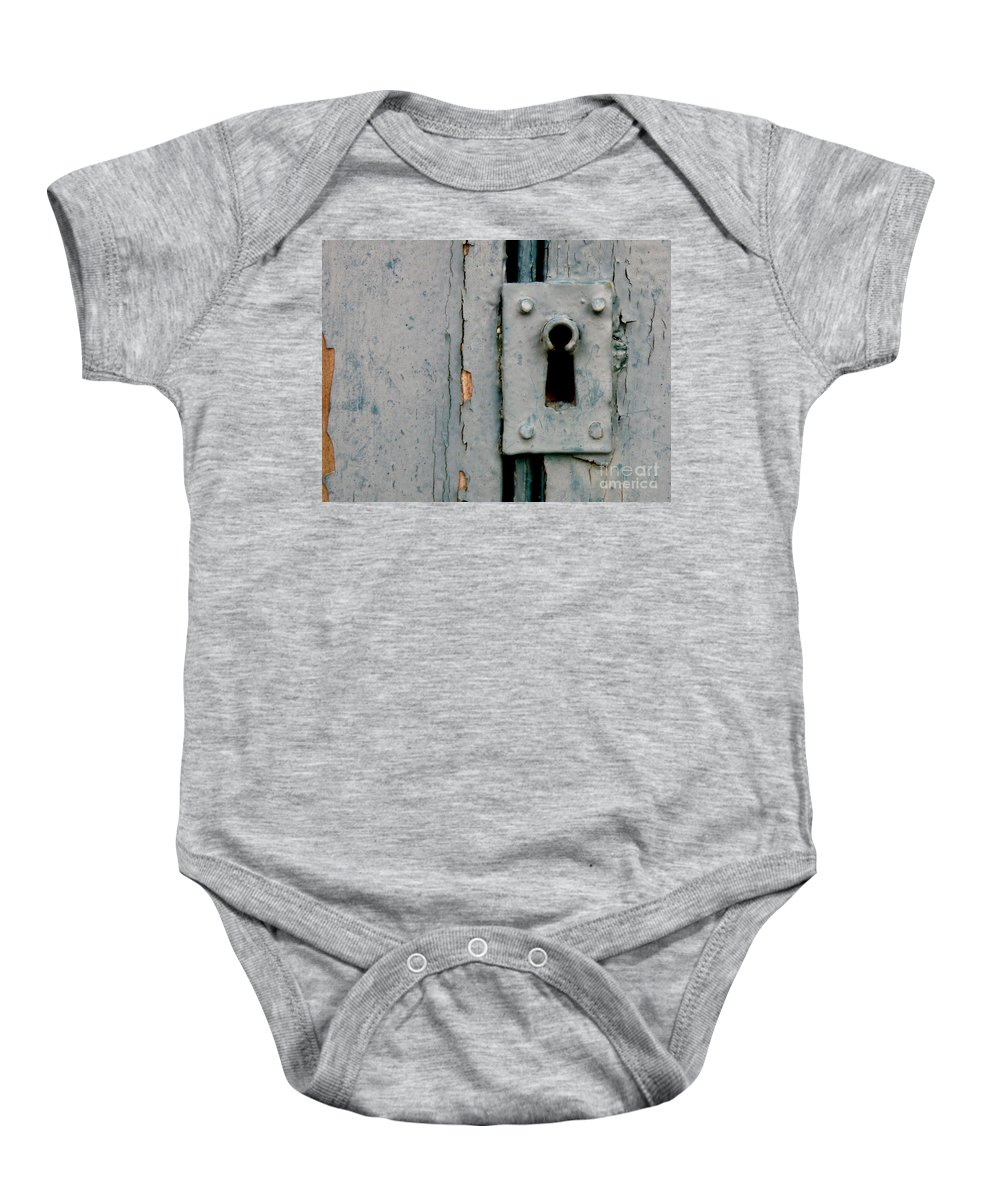 Door Baby Onesie featuring the photograph Soft Blue Door And Lock by Lainie Wrightson