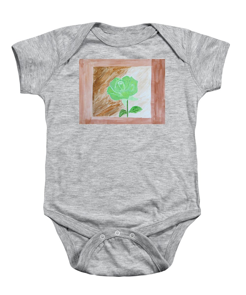 Green Rose Baby Onesie featuring the painting Solitary Rose by Sonali Gangane