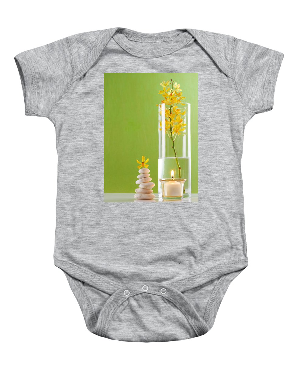 Spa-treatment Baby Onesie featuring the photograph Spa Concepts With Green Background by Atiketta Sangasaeng