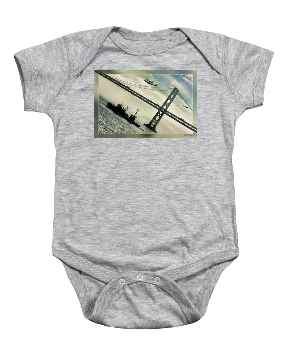 Space Shuttle Baby Onesie featuring the photograph Space Shuttle And San Francisco Bay Bridge by Blake Richards