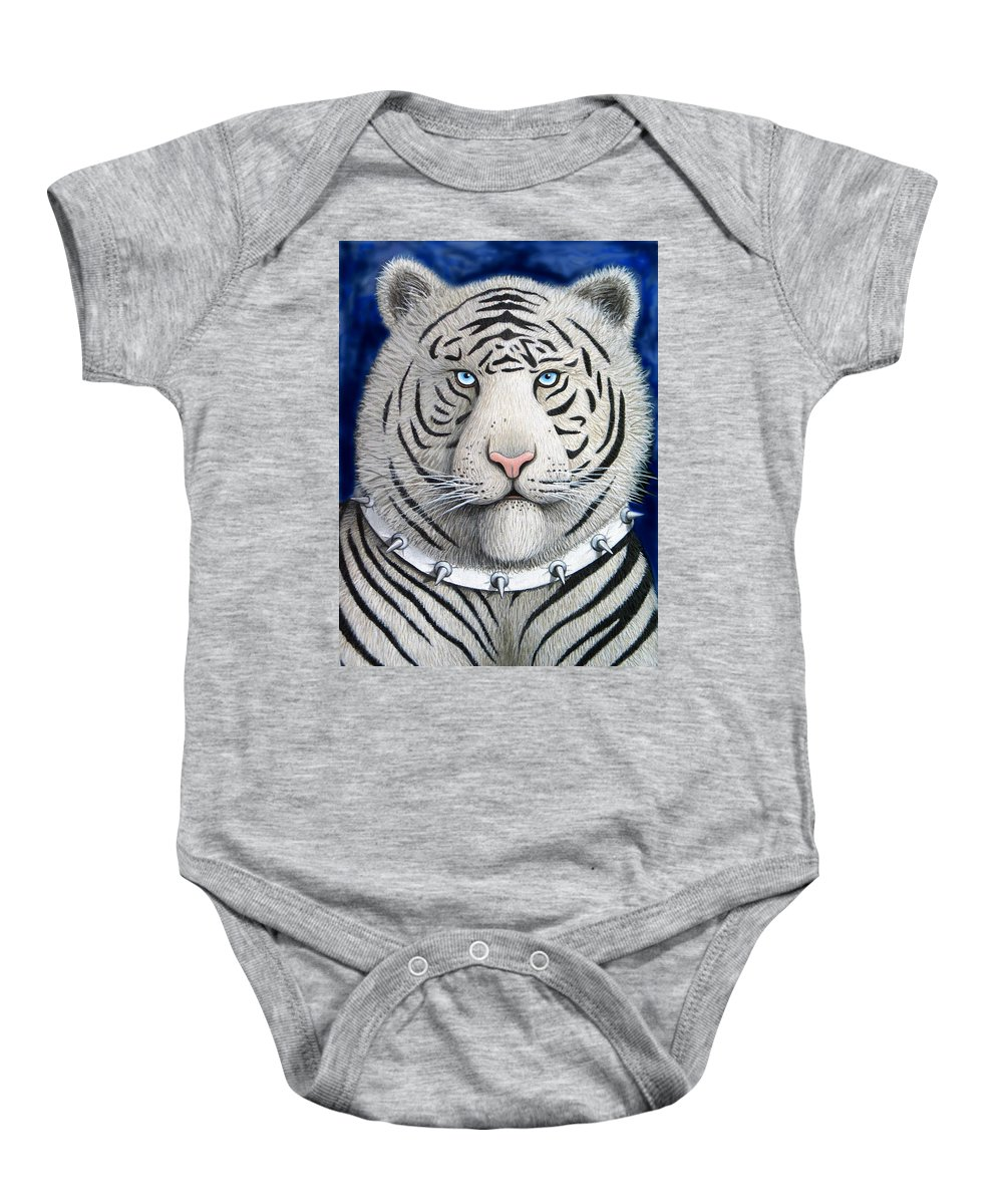 Women Baby Onesie featuring the painting Spike The Tiger by Lance Headlee
