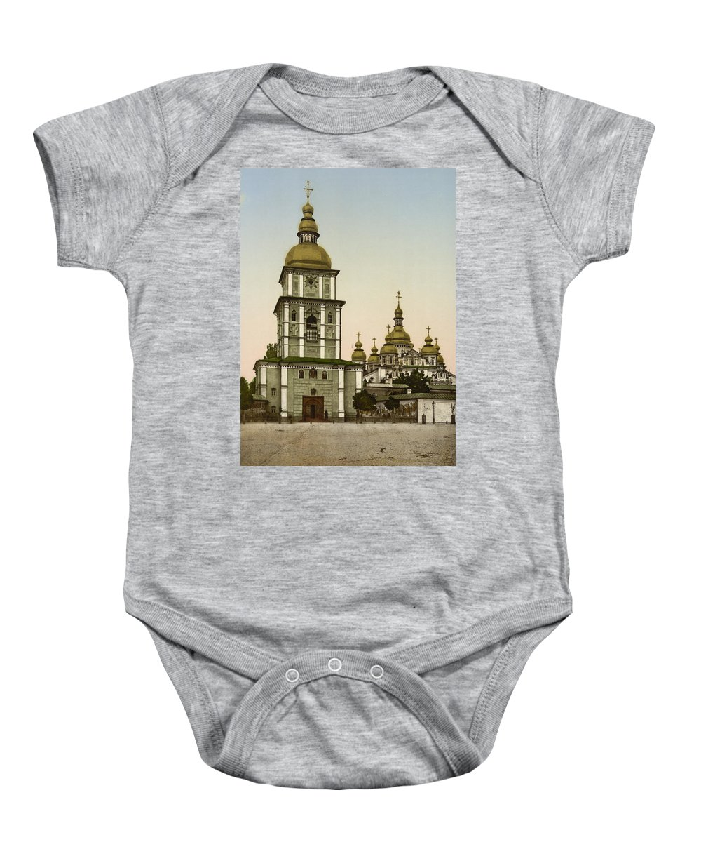 Kiev Baby Onesie featuring the photograph St Michaels Monastery In Kiev - Ukraine by International Images