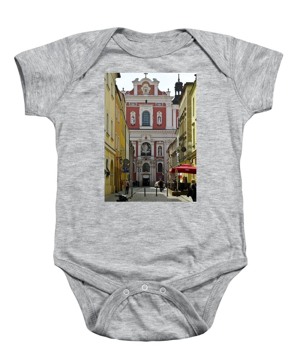 Posnan Baby Onesie featuring the photograph St Stanislaus Church Exterior by Jon Berghoff