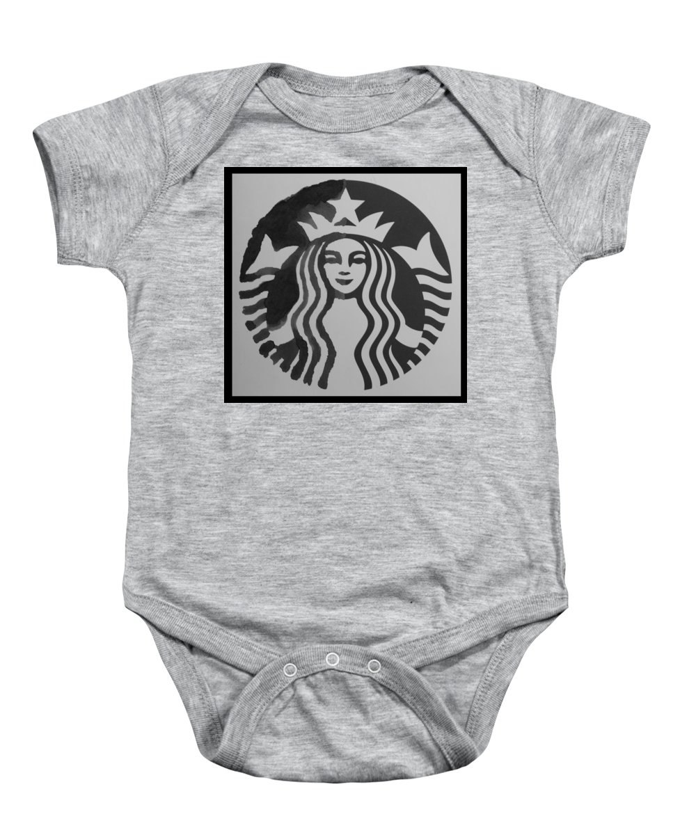 Starbuck Baby Onesie featuring the photograph Starbuck The Mermaid In Black And White by Rob Hans