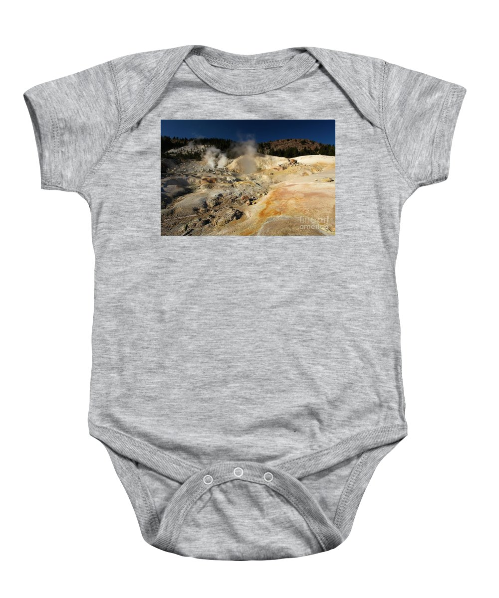 Lassen Volcanic National Park Baby Onesie featuring the photograph Steaming Organge Crust by Adam Jewell