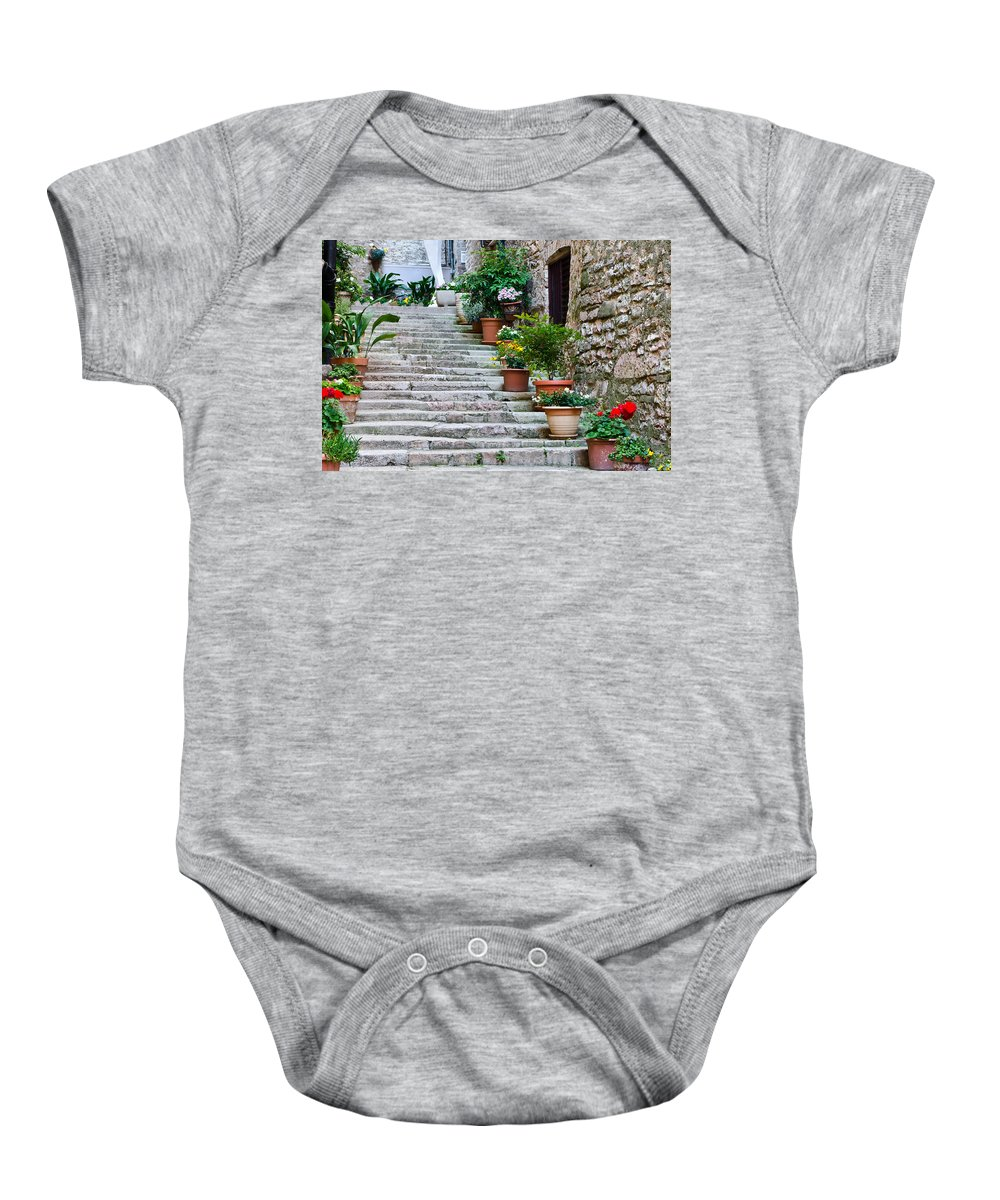 Plants Baby Onesie featuring the photograph Stoney Stairs by Jon Berghoff