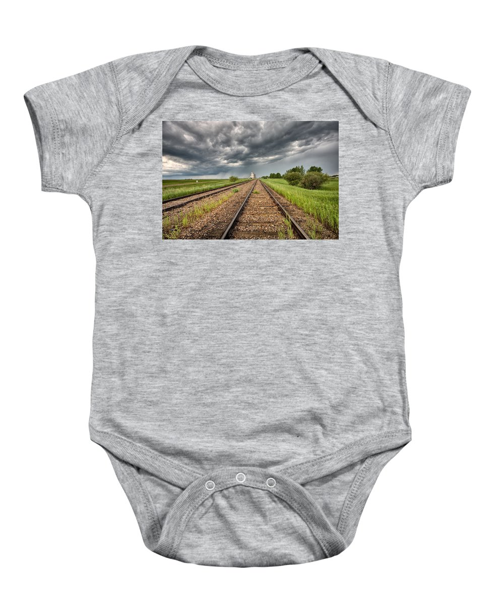 Elevator Baby Onesie featuring the digital art Storm Clouds Over Grain Elevator by Mark Duffy