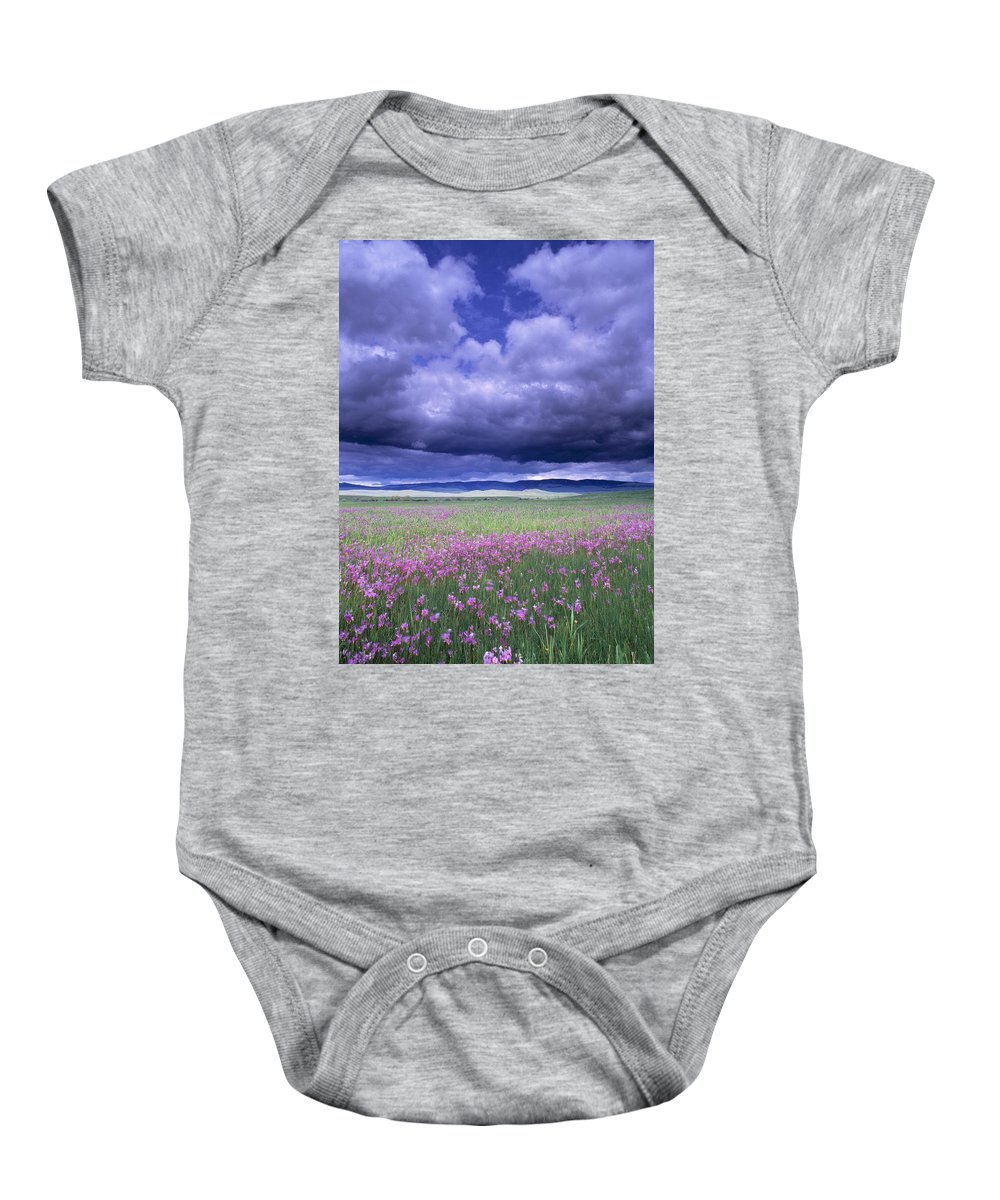 Bad Weather Baby Onesie featuring the photograph Stormy Clouds Approaching Field Of by Natural Selection John Reddy