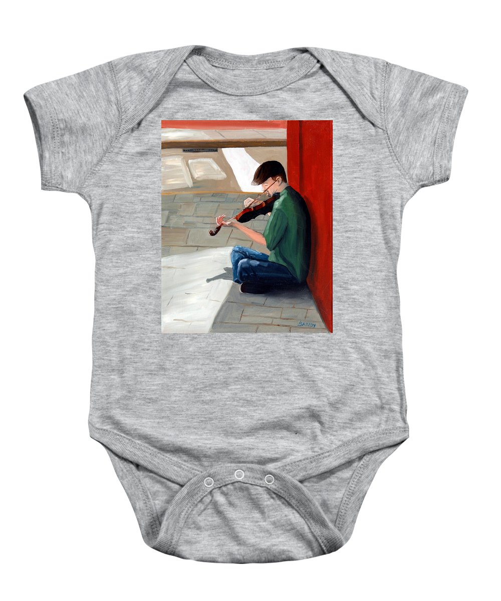Charleston South Carolina Baby Onesie featuring the painting Street Musician 3 by Todd Bandy