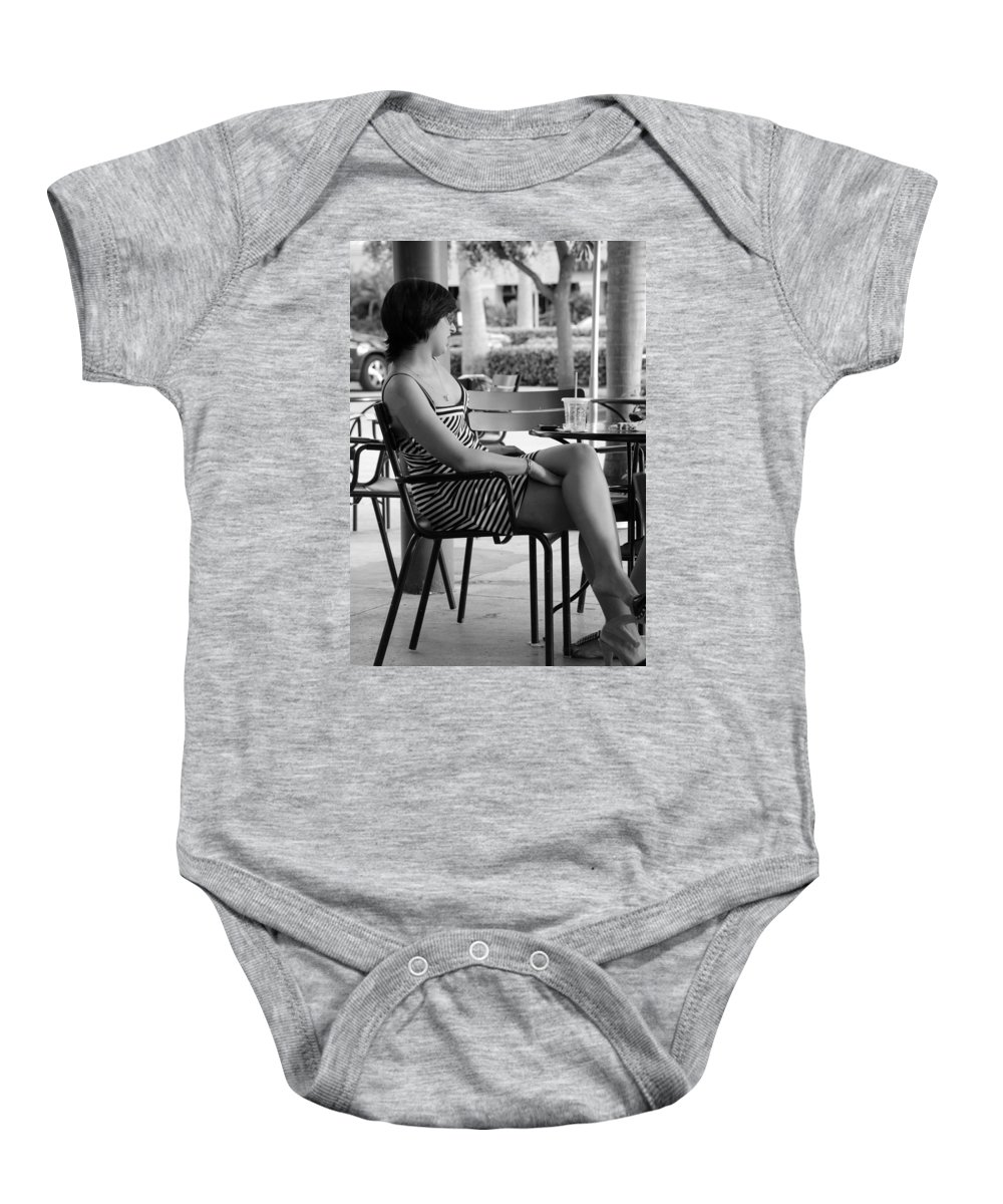 Women Baby Onesie featuring the photograph Stripped Dress Lady by Rob Hans
