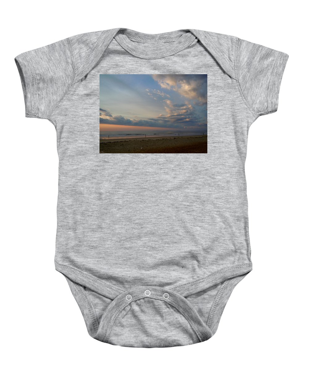 Beach Baby Onesie featuring the photograph Strolling At Sunrise On The Shore Of Maine by Nancy Griswold