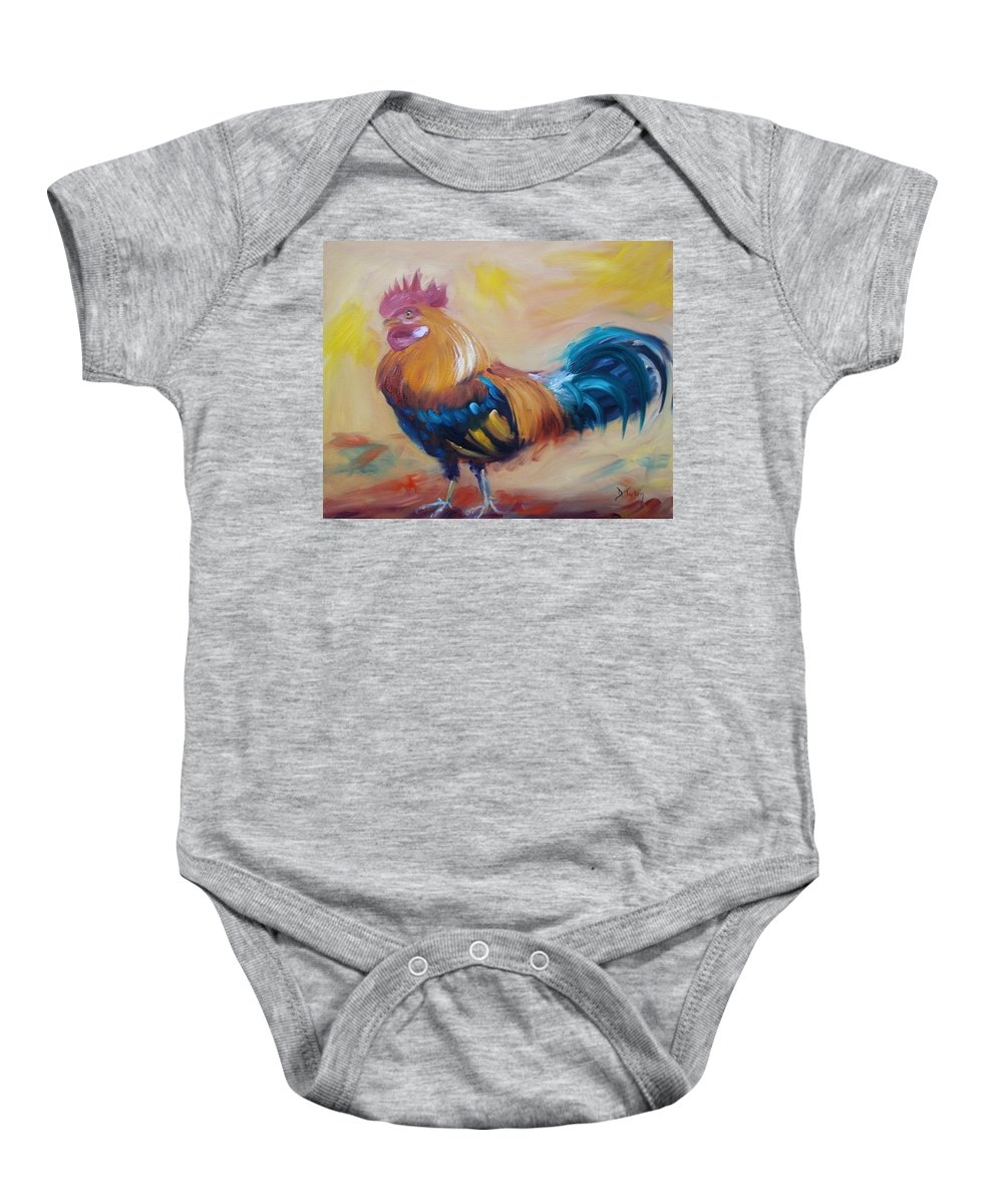 Rooster Baby Onesie featuring the painting Struttin' My Stuff by Donna Tuten