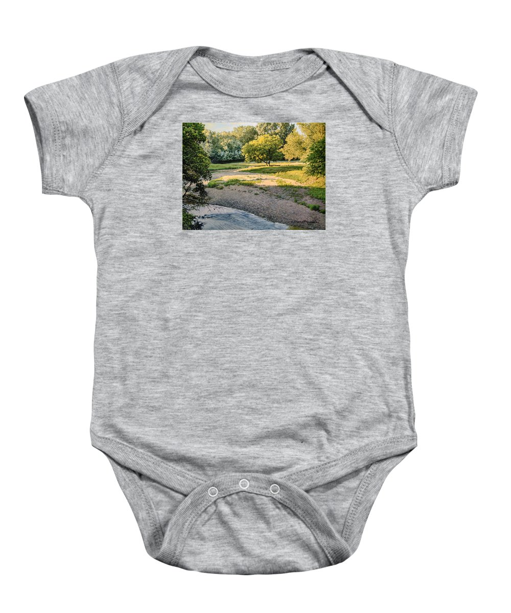 Landscape Baby Onesie featuring the painting Summer Evening Along The Creek by Bruce Morrison