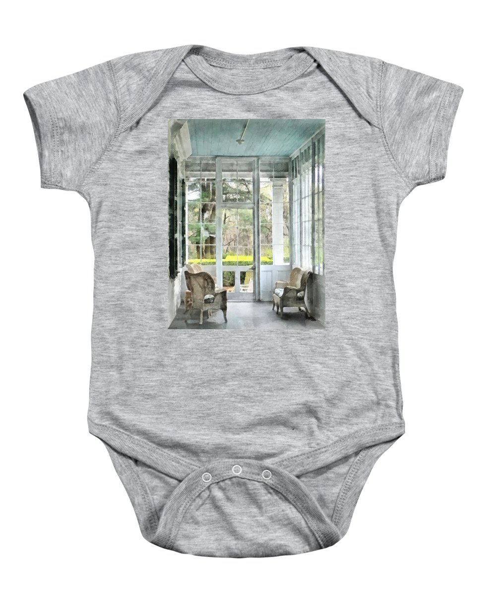 Porch Baby Onesie featuring the photograph Sun Porch by Susan Savad