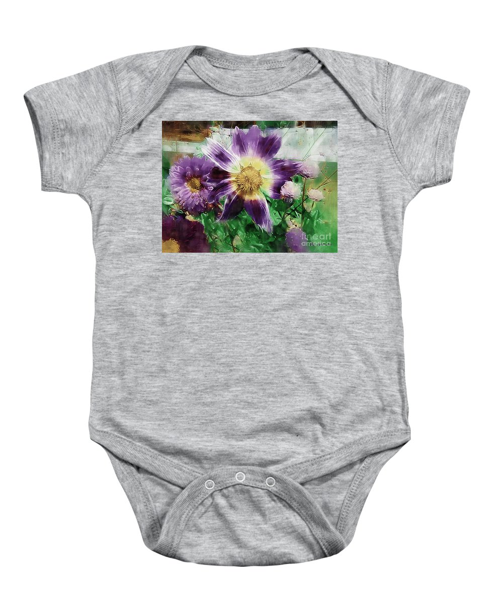 Floral Baby Onesie featuring the painting Sunburst In Lavender by RC DeWinter
