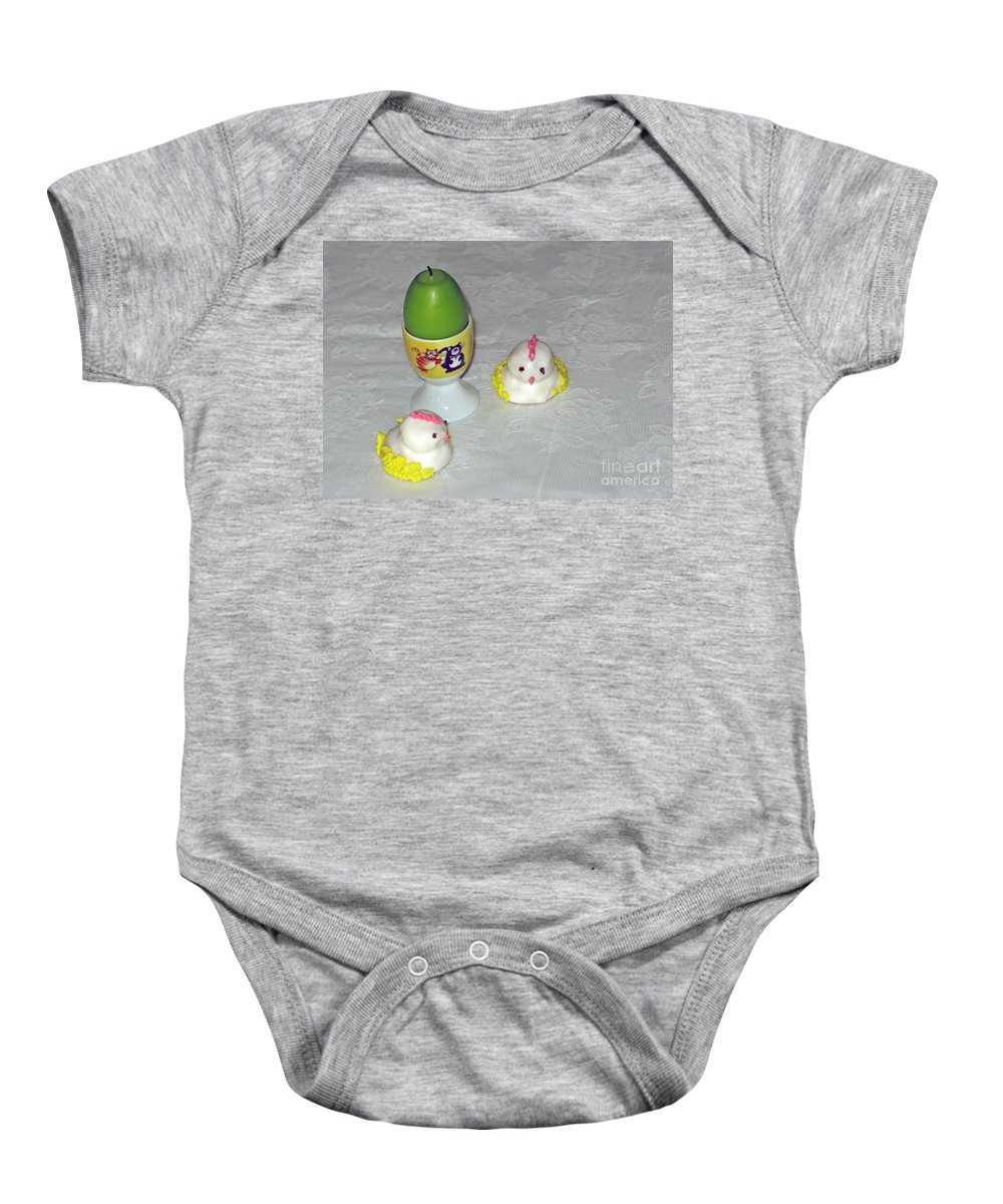 Easter Eggs Baby Onesie featuring the photograph Easter Chicks And Kitties by Ausra Huntington nee Paulauskaite