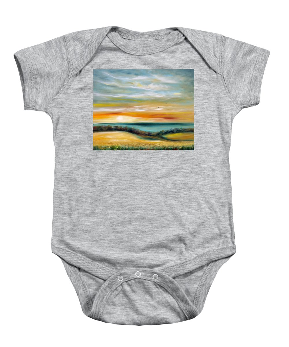 Sunset Baby Onesie featuring the painting Sundown by Gina De Gorna
