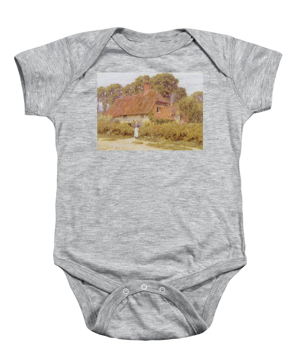 Sunflowers Baby Onesie featuring the painting Sunflowers By Helen Allingham by Helen Allingham