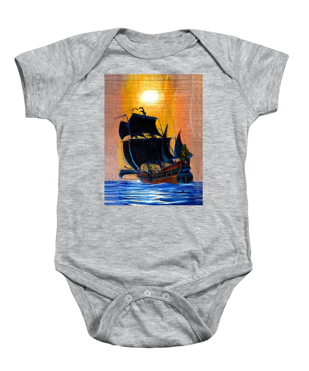 Duane Mccullough Baby Onesie featuring the painting Sunship Galleon On Wood by Duane McCullough