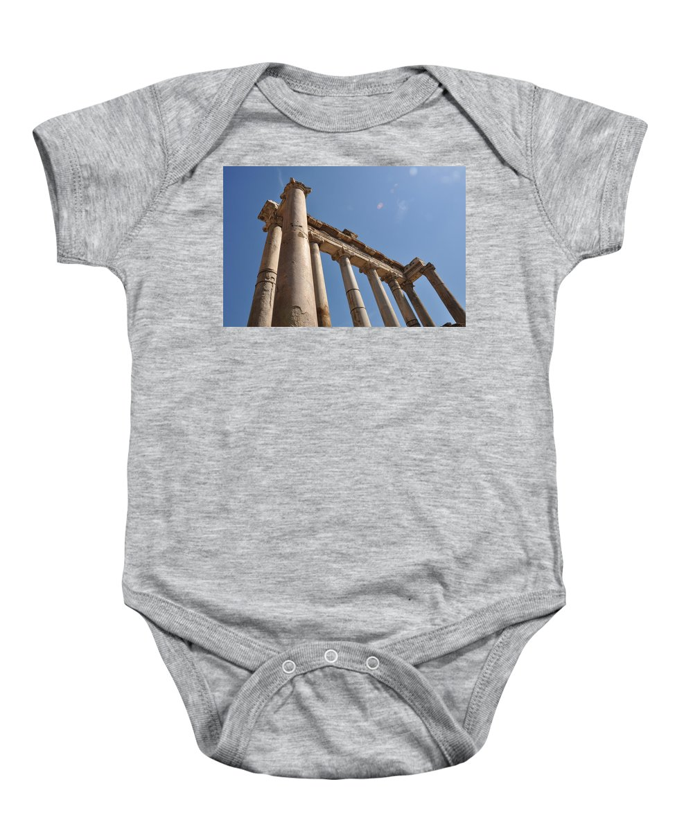 Rome Baby Onesie featuring the photograph Temple Of Saturn by Rich Bodane