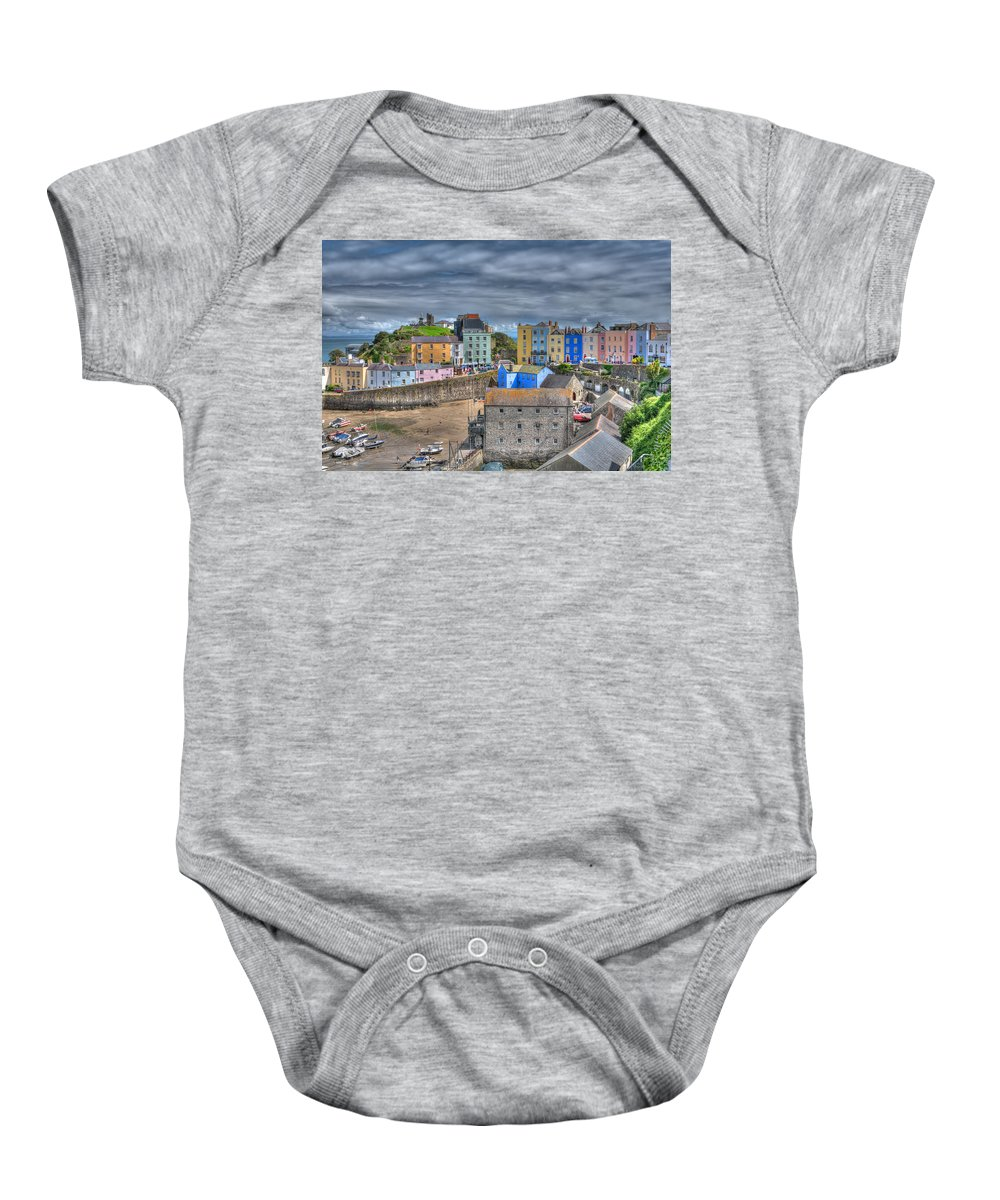 Tenby Harbour Baby Onesie featuring the photograph Tenby Harbour In Summer 2 by Steve Purnell