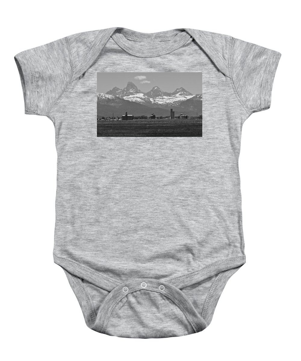 Mountains Baby Onesie featuring the photograph Tetonia Grain Elevators by Eric Tressler