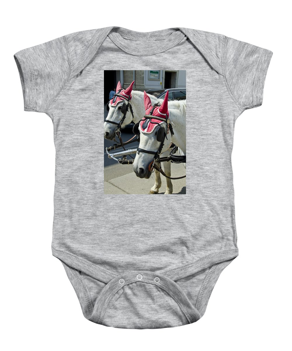 Horse Baby Onesie featuring the photograph That Was One Hell Of A Party by Jon Berghoff