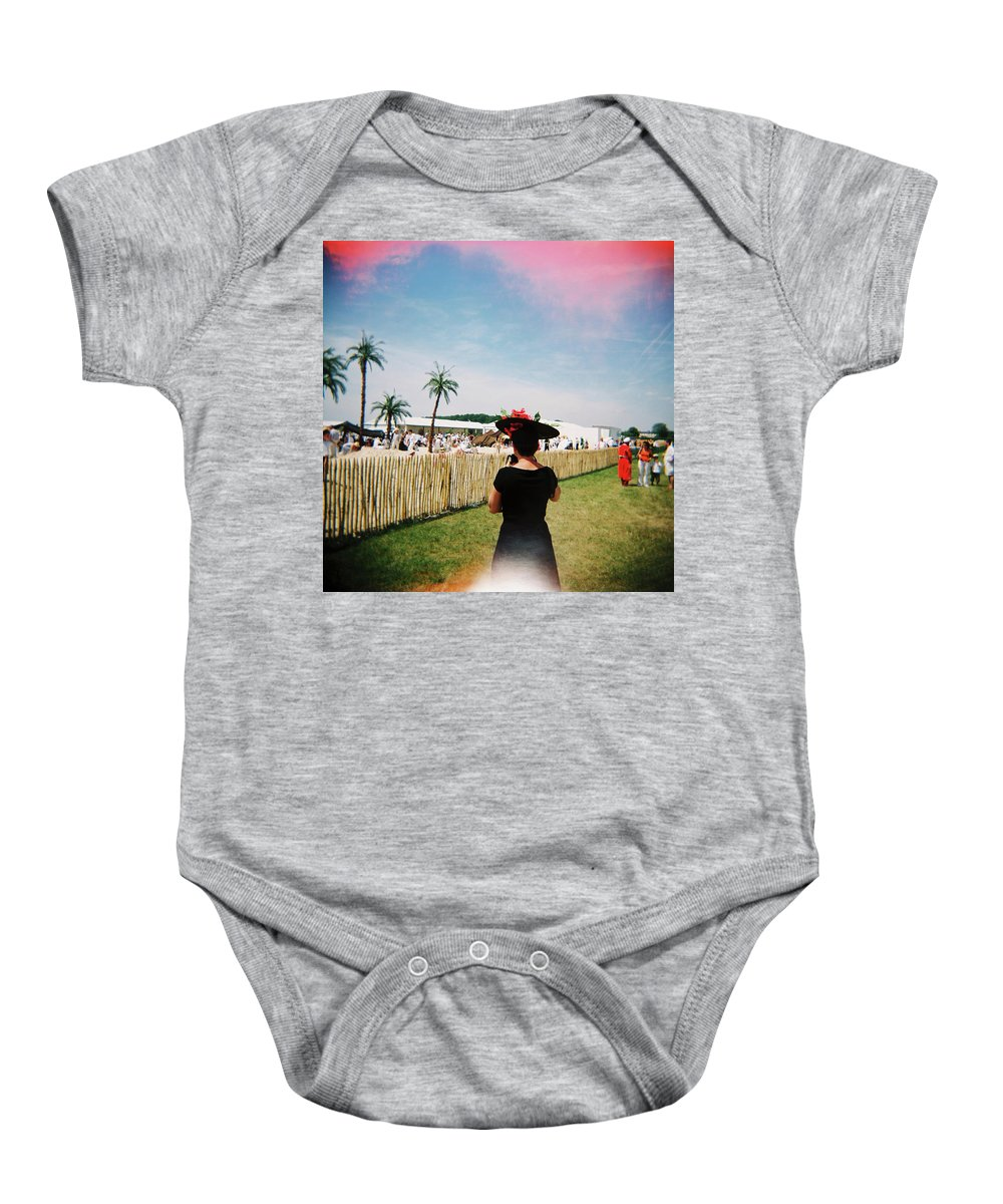 Holga Baby Onesie featuring the photograph The Black Hat by Olivier De Rycke