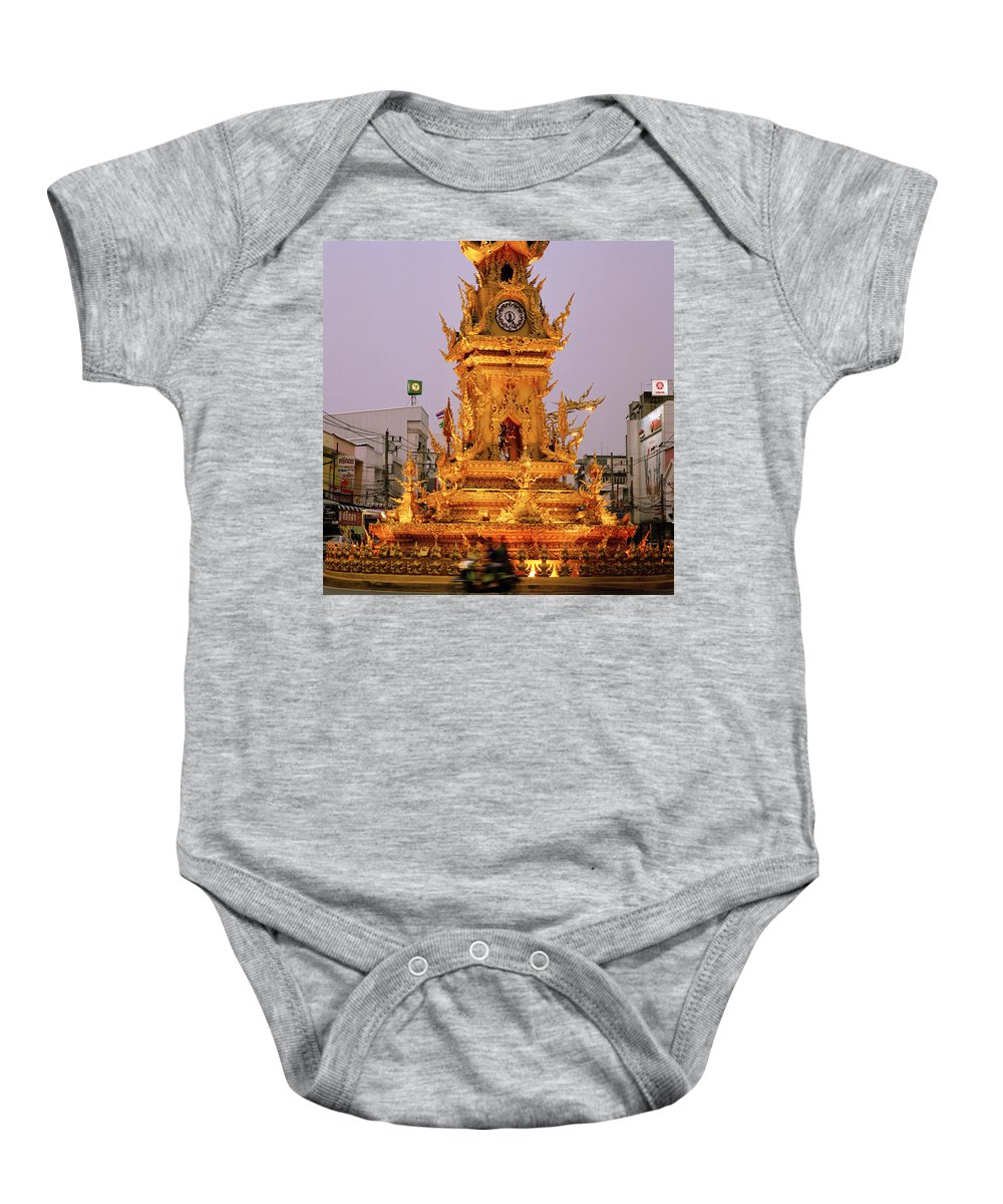 Clock Baby Onesie featuring the photograph The Chiang Rai Clock Tower by Shaun Higson
