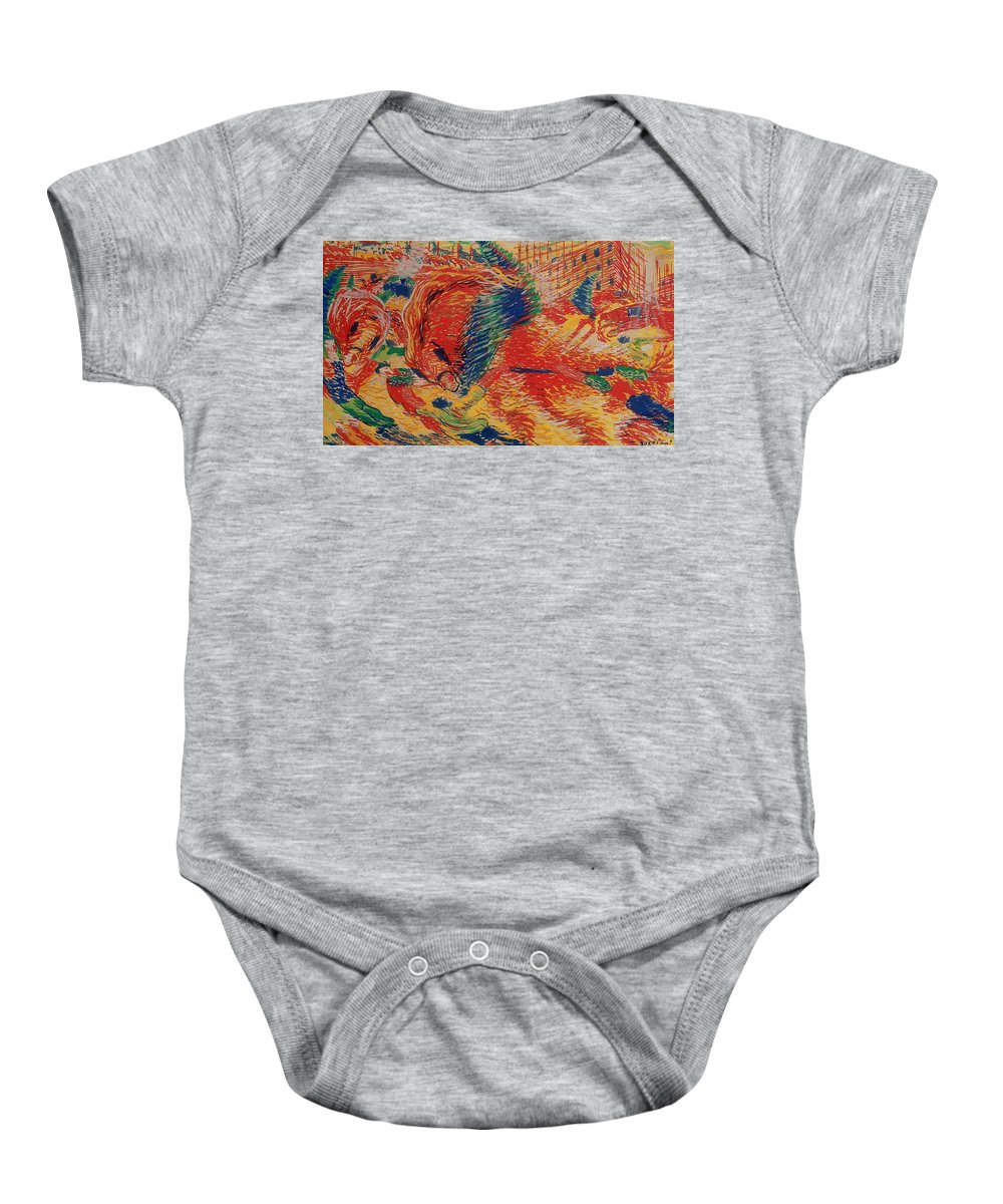 Urban Baby Onesie featuring the painting The City Rises by Umberto Boccioni