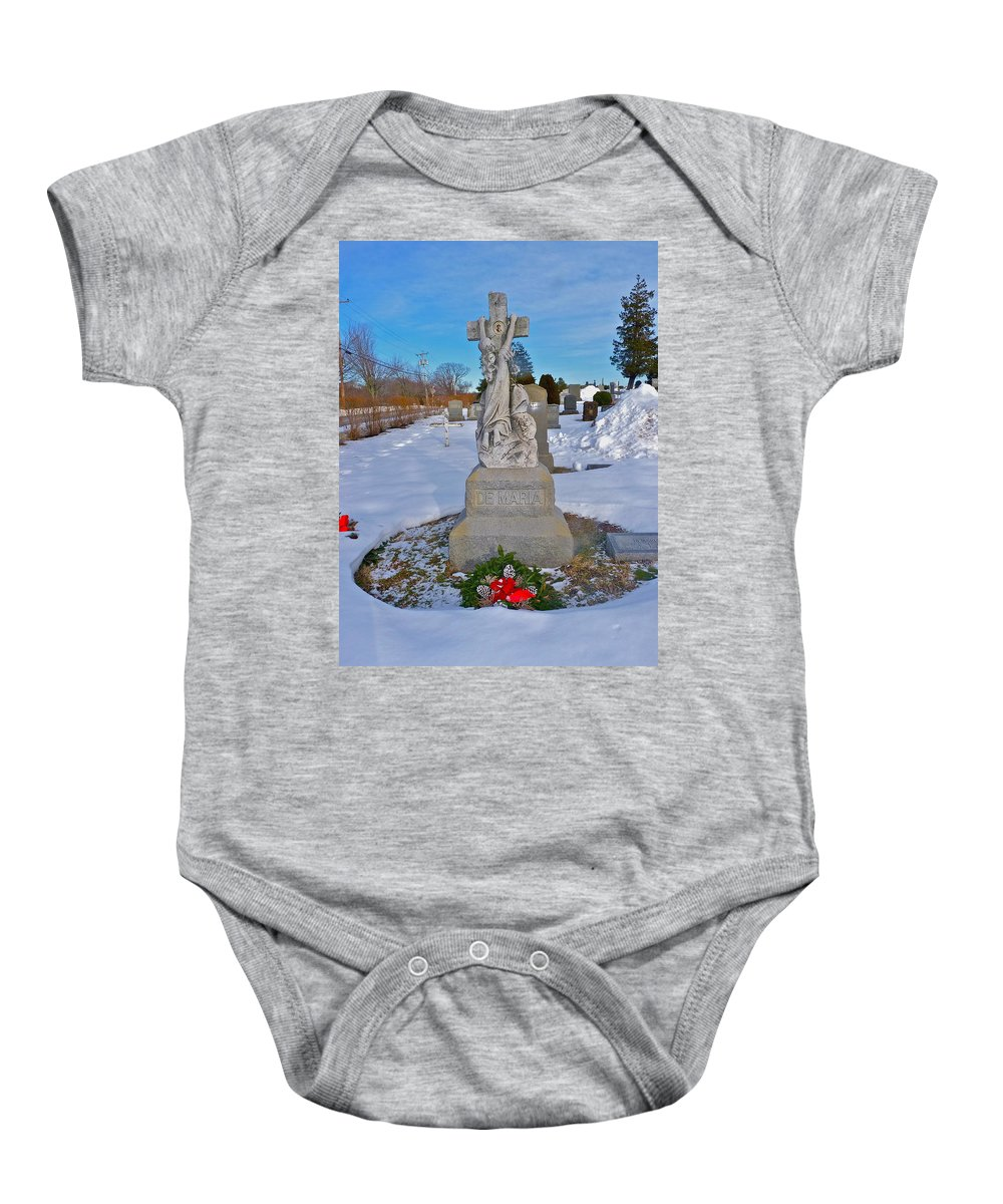 Cemetery Photographs Baby Onesie featuring the photograph The Clinging Cross by Catherine Conroy