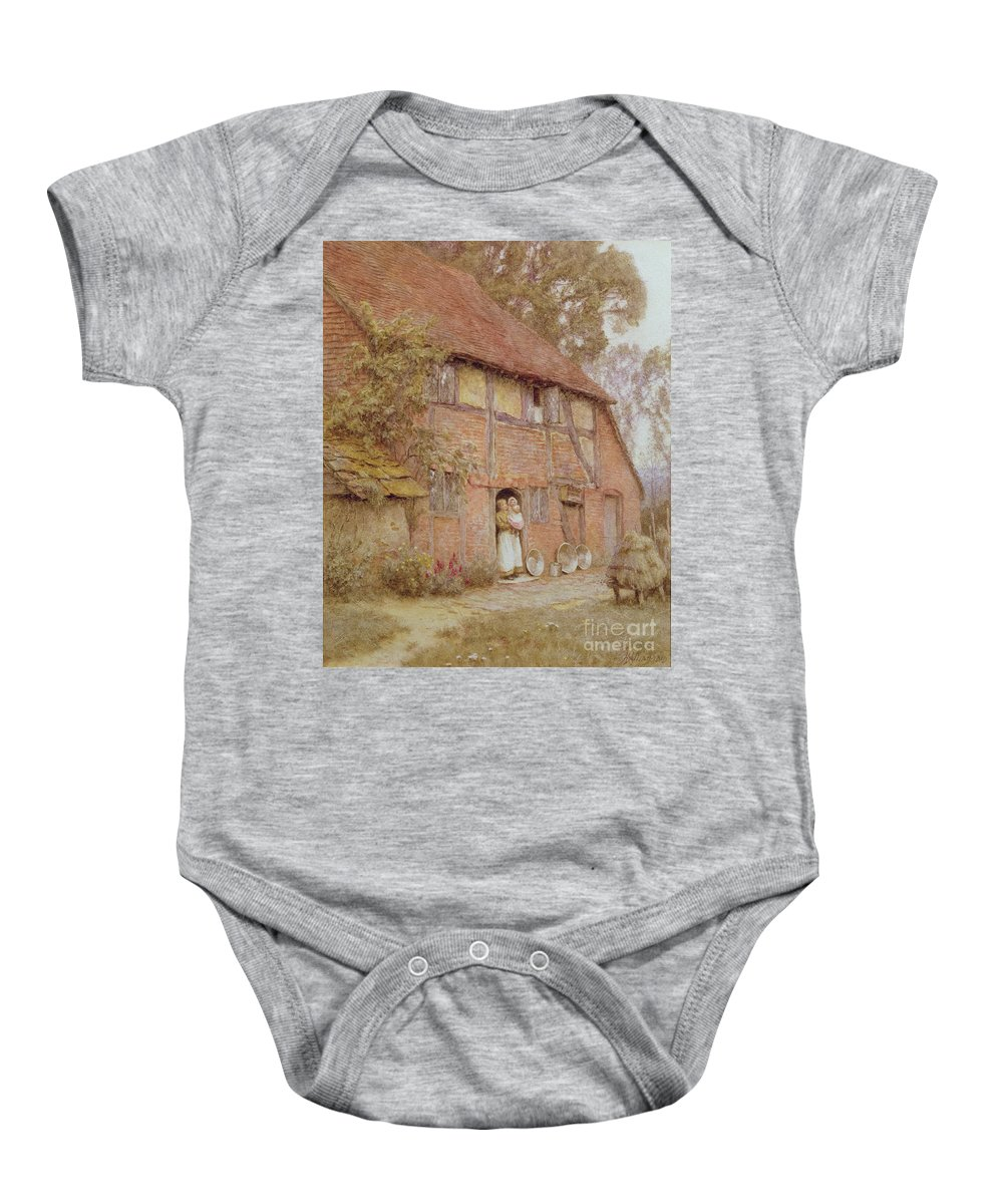The Cottage With Beehives Baby Onesie featuring the painting The Cottage With Beehives by Helen Allingham
