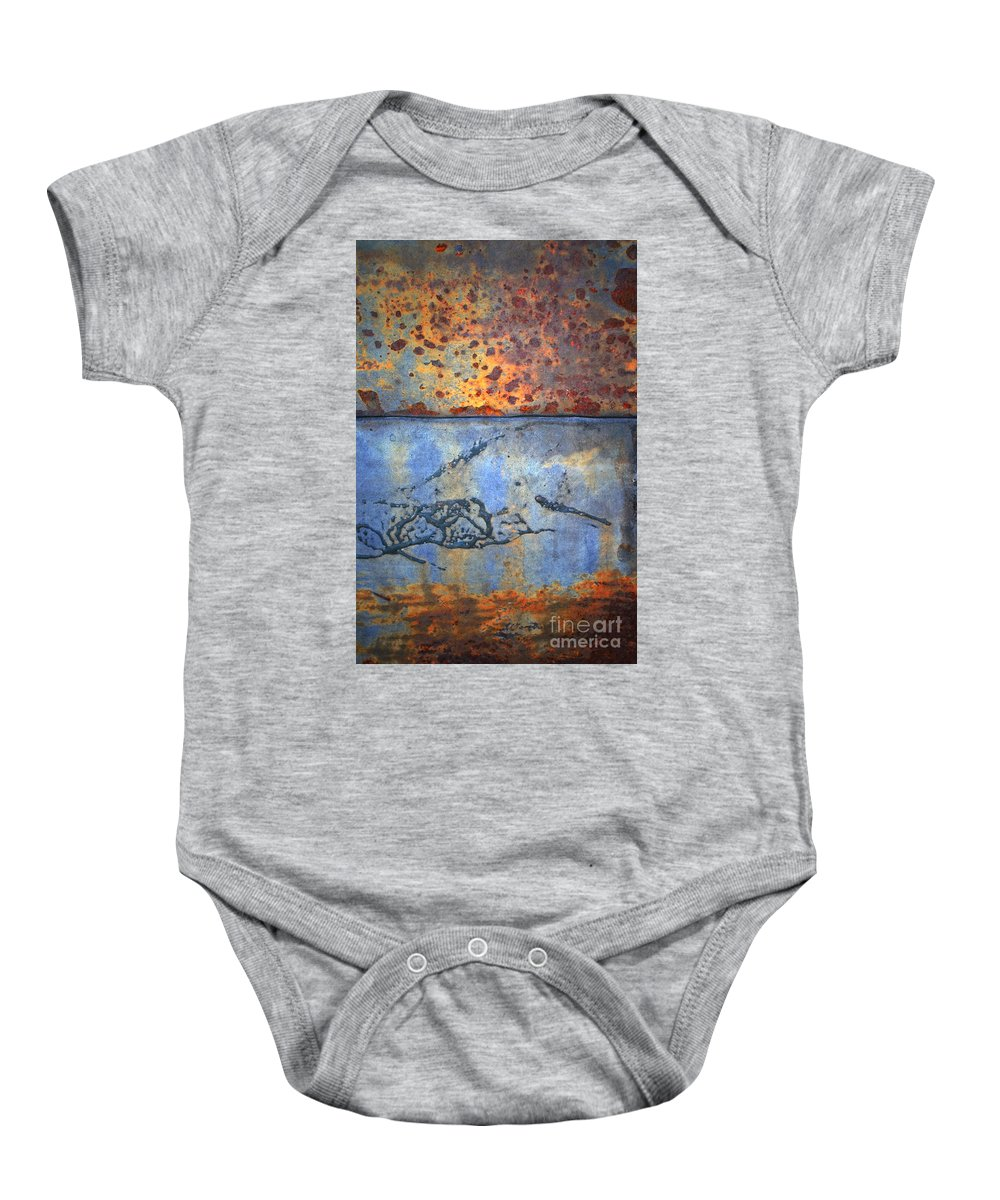 Texture Baby Onesie featuring the photograph The Garbage Can by Tara Turner