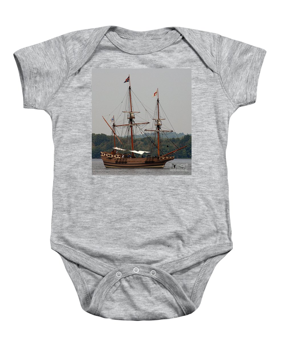 All Rights Reserved Baby Onesie featuring the photograph The God Speed Tall Ship by Clayton Bruster