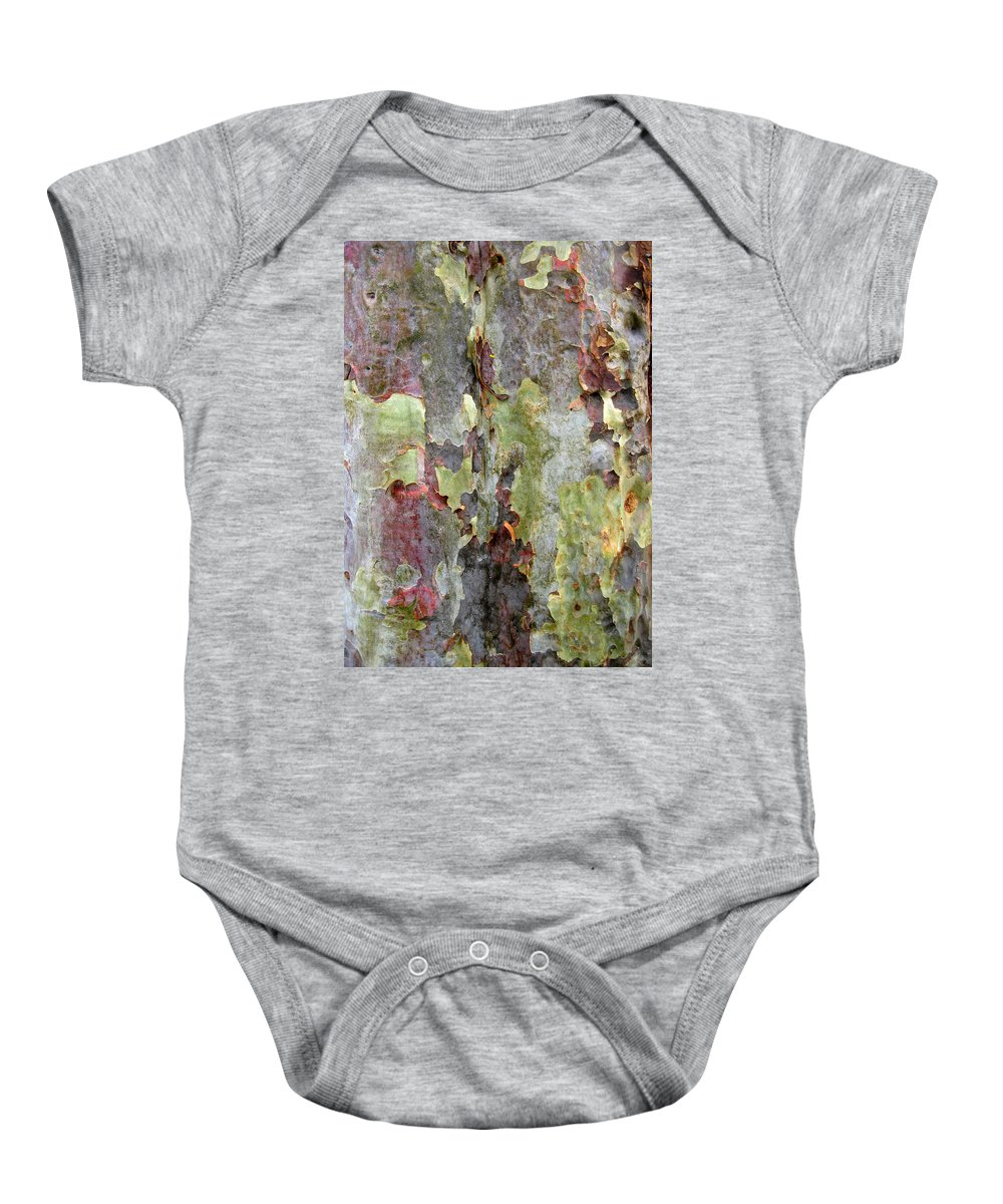 Trees Baby Onesie featuring the photograph The Green Bark Of A Tree by Robert Margetts