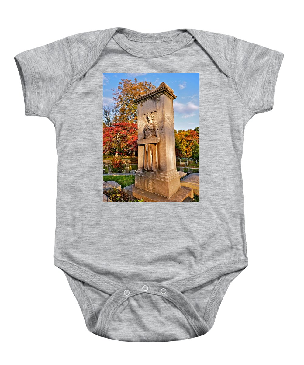 Sleepy Hollow Cemetery Photographs Baby Onesie featuring the photograph The Guardian by Catherine Conroy