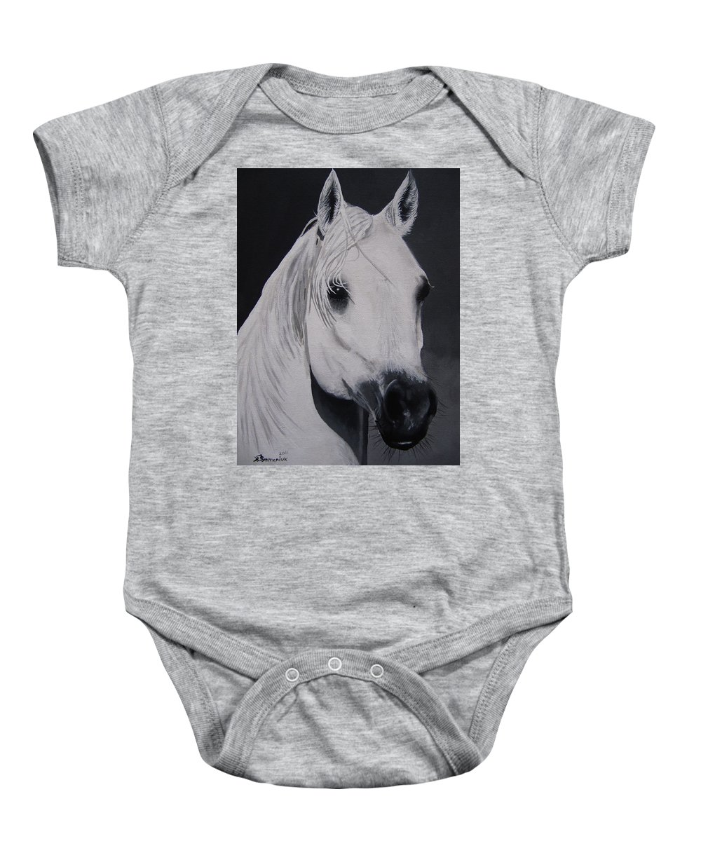 Horse Baby Onesie featuring the painting The Ivory Queen by Kayleigh Semeniuk