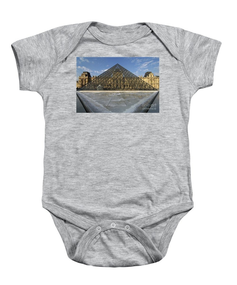 The Louvre Baby Onesie featuring the photograph The Louvre Pyramid Paris by Mike Nellums