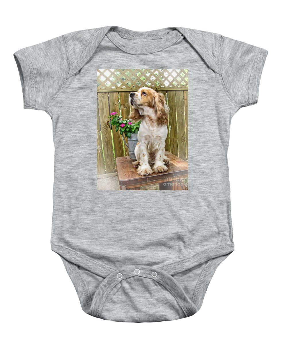 Animals Baby Onesie featuring the photograph The Model by Debbie Portwood