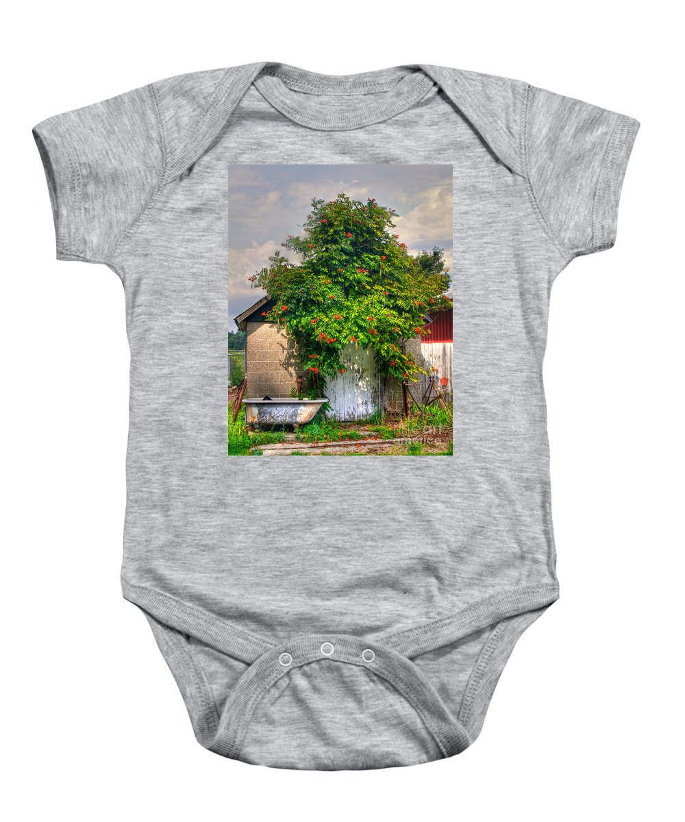 Old Baby Onesie featuring the photograph The Old Bath House by Robert Pearson