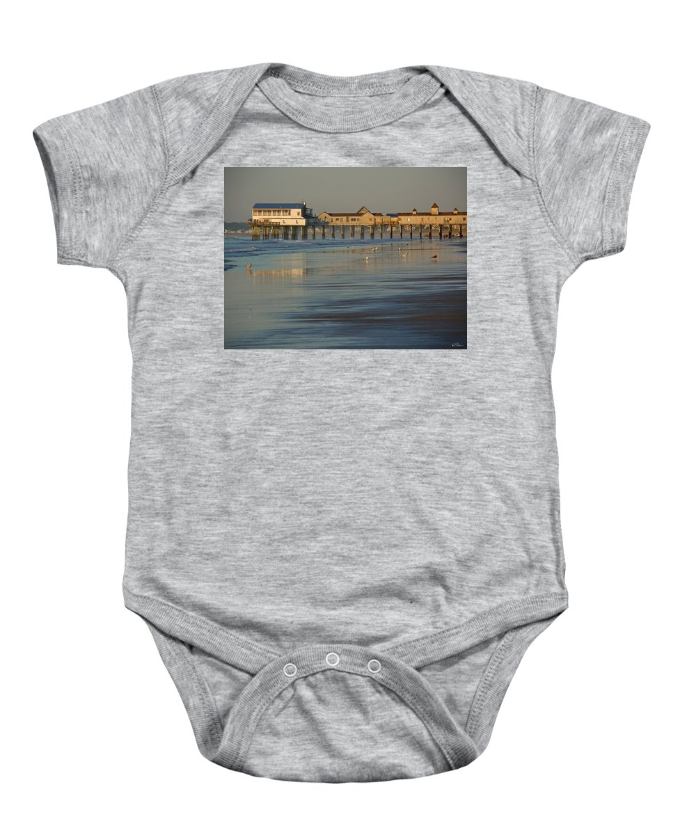 Pier Baby Onesie featuring the photograph The Pier On Old Orchard Beach by Nancy Griswold