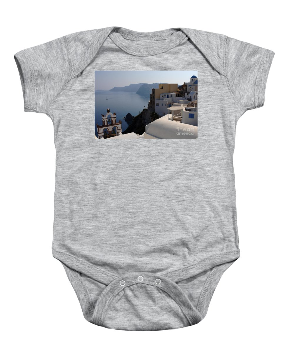 The View Baby Onesie featuring the photograph The View At Fira by Bob Christopher