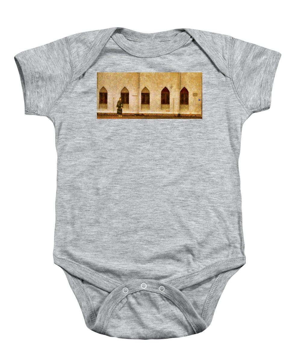 Waiting Baby Onesie featuring the painting The Waiting by Balram Panikkaserry