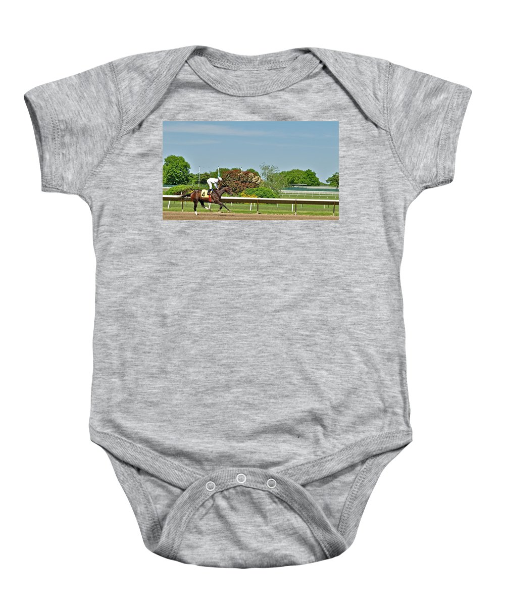 Monmouth Park Baby Onesie featuring the photograph The Winner by Catherine Conroy