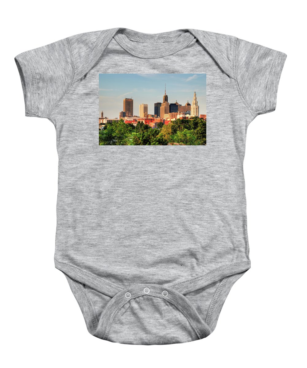 Architecture Baby Onesie featuring the photograph This Is My Town - Buffalo by Guy Whiteley