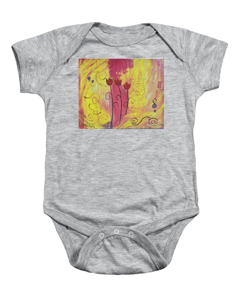 Flowers Baby Onesie featuring the painting Three Amigos by Stefan Duncan