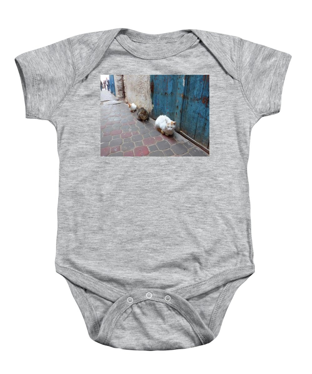 Travel Baby Onesie featuring the photograph Three Cats In Essaouira by Miki De Goodaboom